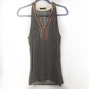 THML Black and White Polyester Aztec Tank Top L